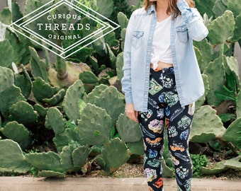 Rocks and Crystals Leggings / Printed Womens Yoga Leggings / High Waisted Athletic Wear Compression fit / Vintage Illustration / L2201