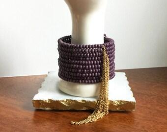 Purple Fringe Bracelet // Purple & Brass, Purple Bracelet, Tassel Bracelet, Glass and Brass Bracelet, Matte Brass Fringe Wrap Bracelet