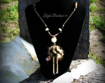 Enchanted Hoodoo Dollie Anti Bullshit Warrior Necklace ~ Dia de los Muertos