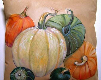 A Gathering of Pumpkins 14x14 Pillow Hand Painted Original Art - Warm Rich Harvested Pumpkins & Squash Fall Thanksgiving Accent