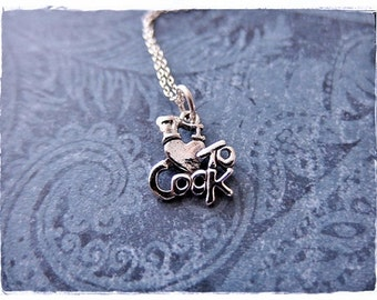 Silver I Love to Cook Necklace - Sterling Silver I Love to Cook Charm on a Delicate Sterling Silver Cable Chain or Charm Only