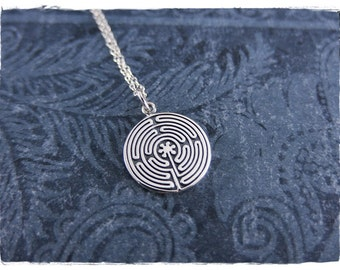 Silver Labyrinth Necklace - Sterling Silver Labyrinth Charm on a Delicate Sterling Silver Cable Chain or Charm Only