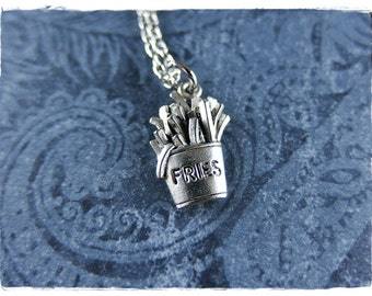 Silver French Fries Necklace - Antique Pewter French Fries Charm on a Delicate Silver Plated Cable Chain or Charm Only
