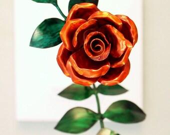 Tiny Orange Copper Rose Metal Sculpture