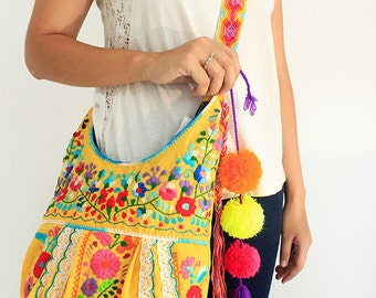 SALE Crossbody Handbag Mexican Embroidered Jody Yellow