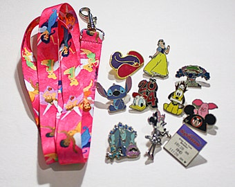 Disney Trading Pins and Lanyard Starter Lot 10 Random Pins