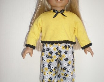 "Yellow, Gray, Black PAJAMAS fits 18"" dolls"
