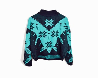Vintage 80s Tacky Snowflake Sweater / Black & Teal Holiday Sweater / Nordic Sweater - women's small/medium