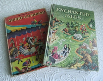 DISTRESSED Vintage Children's Reader Books Illustrated Covers 1950s - 60s