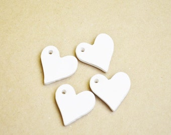 Bisque ware heart pendant - Set of 4