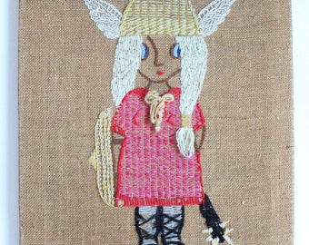 Vintage 1960's Girl Crewel Work Embroidery Viking Woven Wall Art!