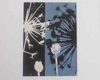 Original botanical monoprint by printmaker Stef Mitchell.  Coastal seed heads. Modern boho floral print. Dusky sky blue  wall art