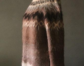 Vintage 70's Cream, Brown, Grey, and Dark Brown Knit Alpaca Sweater by Tienda Ho