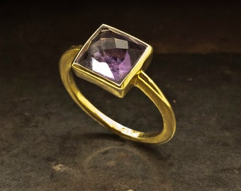 Amethyst Gold Ring, Natural Purple Amethyst Solitaire Ring, Engagement Ring, February Birthstone Statement Ring, Size 7, Amethyst Jewelry
