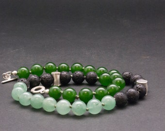 Green Jade and Lava Stone Necklace, Elegant Gemstone Beaded Necklace, Unique Santorini Black and Green Necklace, Lava Jewelry, Jade Jewelry