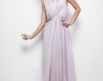 plus size vintage 70s maxi dress pale purple sleeveless empire gathered XL 1X extra large