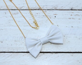 White Cream Bow-tie Necklace, Bowtie for Women, Girls - 18-20 inches Adjustable Chain - Casual, Bohemian, Party, Wedding, Gift
