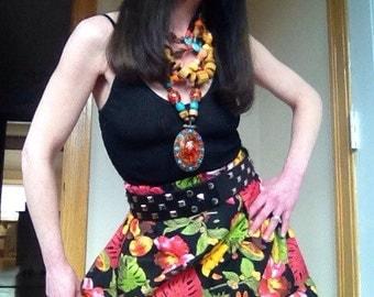 Tropical handmade mango pineapple retro  midlength bright summer print skirt