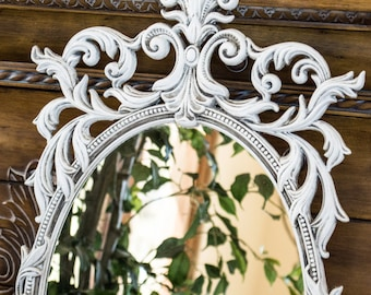 Ornate Large Wall Mirror Hand Painted in White and Aged in Gray 32 Inches Tall