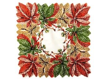Colorful Vintage Handkerchief Hankie Rust Orange and Green Autumn Leaf Hankie Handkerchief Scalloped Edge