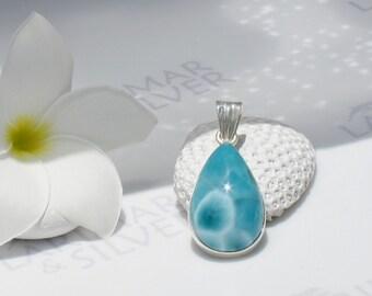 Larimarandsilver pendant, Bohemian Island - teal blue Larimar pear, turtleback, sea green, cerulean, bohemian blue, handmade Larimar pendant