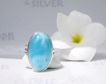 Larimarandsilver ring size 7, Caribbean Swims - azure blue Larimar oval, Swiss blue, turquoise ring, topaz blue oval, handmade Larimar ring