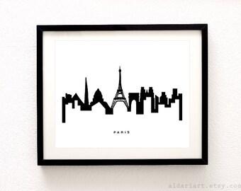 Paris Skyline Print - Paris Wall Art Paris Cityscape Print Paris France Skyline Print - Modern Decor - Aldari Art