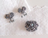 1950s Grey Pearl bow Earrings & Brooch pin / Silver filigree luminous grey Seed Pearls Miriam Haskell style jewelry set
