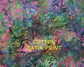 Grass Blades Batik Print, Craft or Quilting Cotton Fabric, Green, Purple, Blue, Orange, Magenta, half yard, B10
