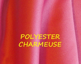 1 YARD, Rouge Pink Charmeuse, Satin Fashion or Heavy Lining Fabric, Medium Weight Polyester, B19
