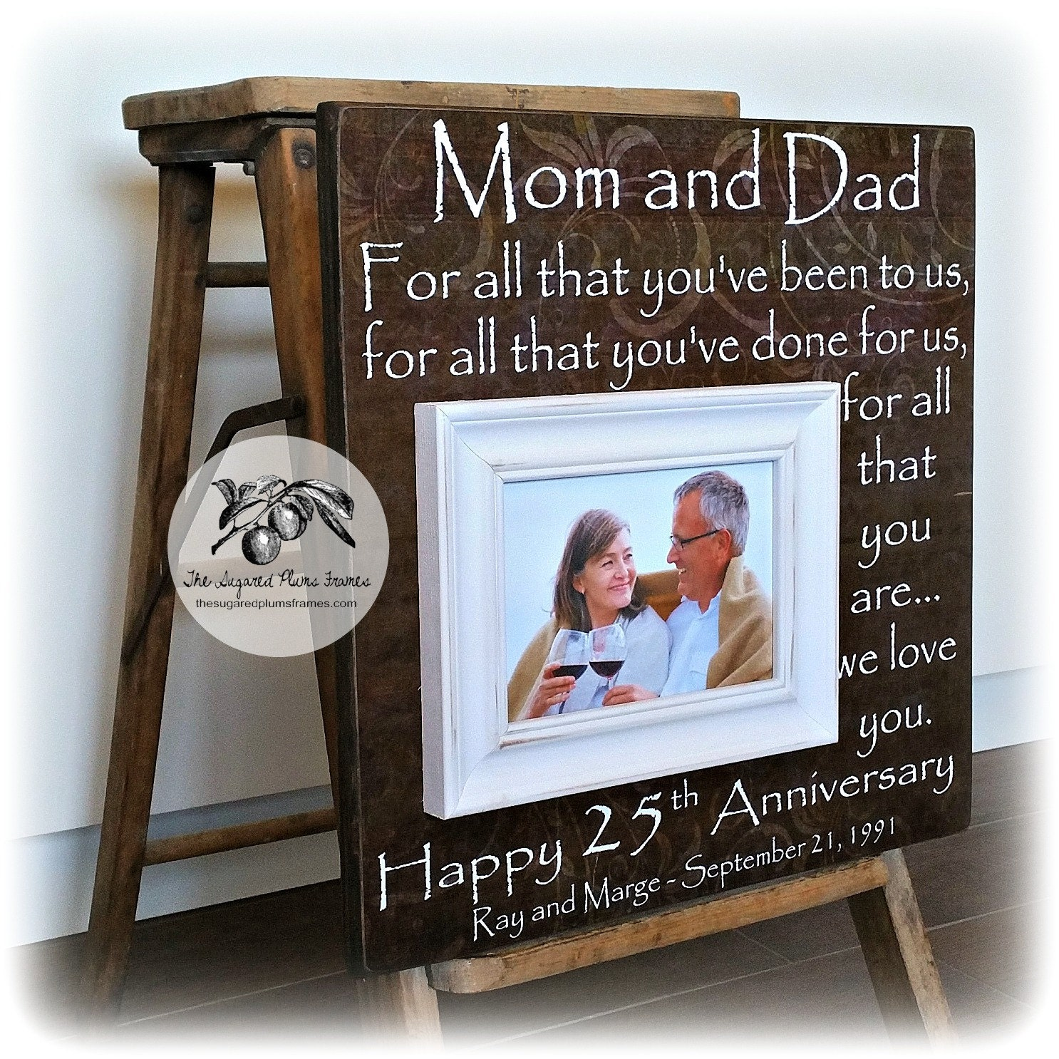 25th Wedding Anniversary Gift For Parents: 25th Anniversary Gifts For Parents Silver Anniversary Gift