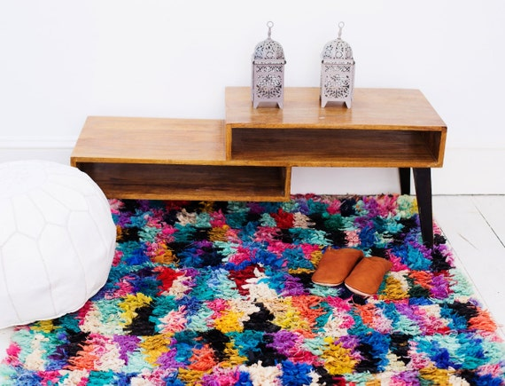 FREE SHIPPING, Trendy finds, Large Multi colour Berber carpet, Moroccan Rug, Boucherouite Rug,Vintage, Moroccan Carpet,Hand Woven, Boho Rug,