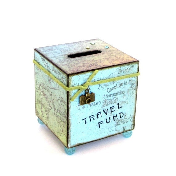 Travel coin bank vacation world map decoupaged wood square for Travel fund piggy bank