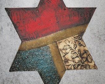 Hand Painted Textured Ceramic Star of David Hand Made Wall Tile