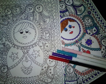 Matryoshka Babushka printable adult coloring page