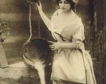 Maiden at the Well 5. Photogravure of Lilian Greuze by Leopold Reutlinger, Posted 1909