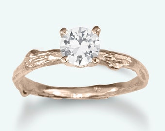 Unique Eco-friendly Engagement Ring, September Birthstone, white sapphire, prong setting, rose gold
