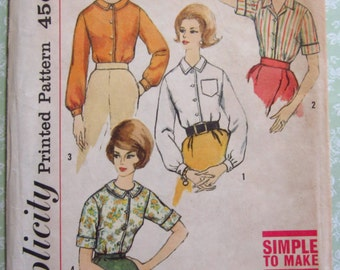 Easy to Sew Misses Blouse with Collar, Set-in Sleeves Size 12 Bust 32 Vintage 1950's Simplicity Pattern 4604 UNCUT
