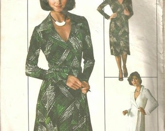 1970s Wrap Dress Long Sleeves Cuffs Day Evening Length V Neckline Simplicity 7705 Size 10 Bust 32.5 Women's Vintage Sewing Pattern