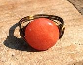 size 7 - Orange Quartzite stone gemstone antique brass gold wire wrapped wrap ring - men women unisex bohemian rustic jewelry
