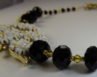 Summer Blossoms Vintage Brooch Necklace