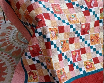Twin Quilt,featuring Azuli by Julie Paschkis, original design in orange, peach, cream, gold, teal, one of a kind, Quiltsy Handmade