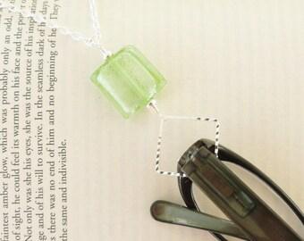 Silver Eyeglass Loop, Green Eyeglass Loop, Lampwork Glass Lanyard, Green Lanyard, Silver Lanyard Glasses Holder Chain