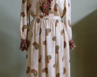 "Vintage Julie Francis Cream with Paisley Print Coordinating 100% Silk Blouse and Skirt Bust 44"" Waist 30-33"""