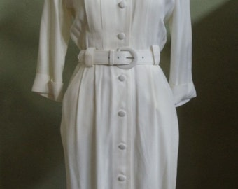 "Vintage 80's Studio I Petite New York Cream Belted Shirtwaist Dress Bust 38"" Waist 26"""
