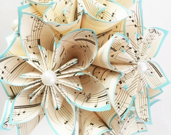 A Dozen Sheet Music Paper Flowers- 1st anniversary gift, wedding bouquet, one of a kind, perfect for her, recital decoration, graduation