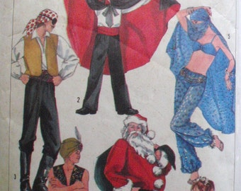 Kid's Costume Pattern - Pirate, Ballerina, Santa Claus, Genie, Belly Dancer, Dracula- Simplicity 7651 - Size 10-12, Chest 28 1/2 - 30