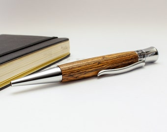 Handmade Wood Ballpoint Pen - Glacia Style - Bocote Wood with Chrome Accents (Gift Ready)