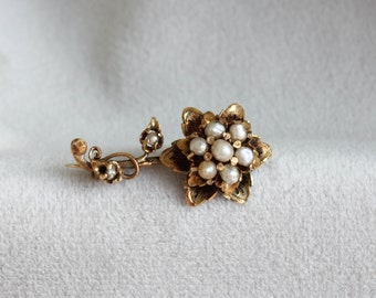Victorian 14k Yellow Gold Seed Pearl Flower Brooch Pin