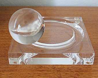 Vintage Lucite ball in motion desk accessory modern decor sculpture